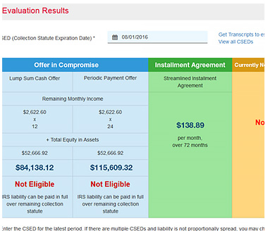 Screenshot of our tax resolution evaluation tool.