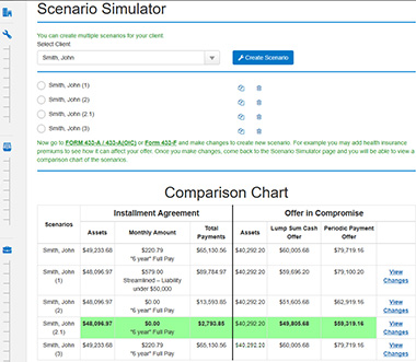 Screenshot of the scenario simulator. It helps you work faster and more efficiently.