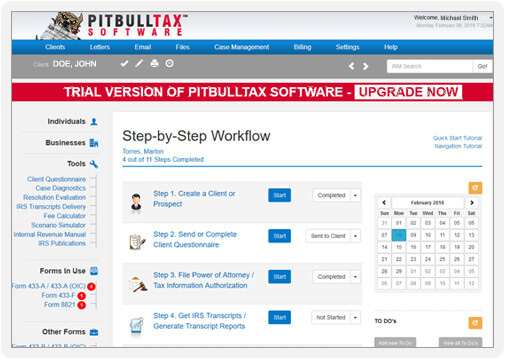 Screenshot of the trial version of PitBullTax. Enjoy all the software for 7 days. No catch.
