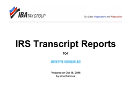 IRS Transcript Delivery & Reporting Tutorial