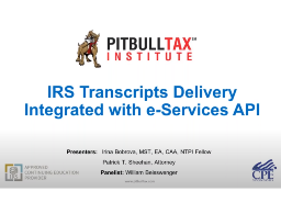 IRS Transcripts Delivery Integrated with e-Services API